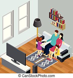 Family Home Isometric Composition
