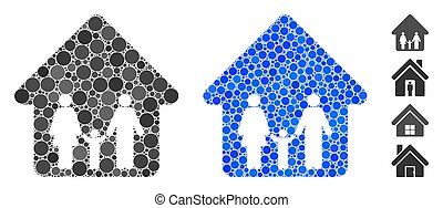 Family Home Mosaic Icon of Round Dots