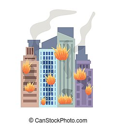 Family home on fire, fire in the building. Last minute window in the house. Quest for the superhero.Superhero single icon in cartoon style bitmap,raster symbol stock illustration.