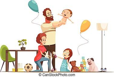 Family Home Retro Cartoon Poster