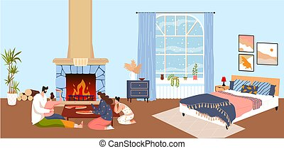 Family home together, young people pizza, food background, happy child, delicious supply, design, flat style vector illustration.