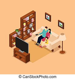 Family Home Watching TV Isometric Banner
