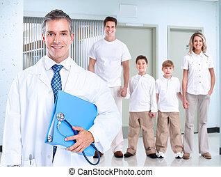 family., homem médico, sorrindo, doutor