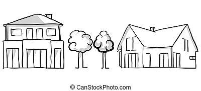 Family house and villa vector sketch