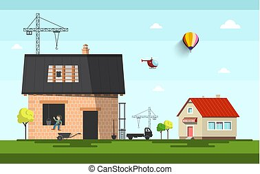 Family House Construction on Suburb. Vector Flat Design Cartoon.