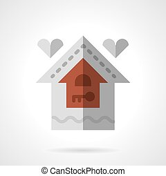 Family house flat color vector icon