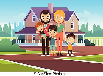 Family house. Happy young parents father mother son daughter kids outdoors front home building lifestyle cartoon vector background