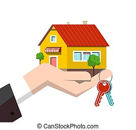 Family House Icon in Human Hand with Keys Isolated on White Background