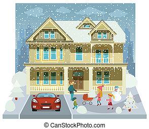 Family house in the winter (diorama
