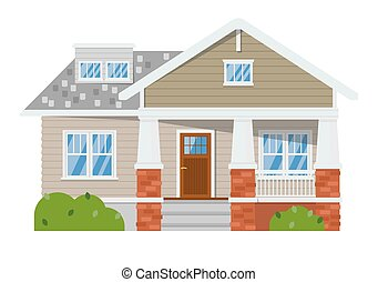 Family house isolated on white background - Exterior of ...
