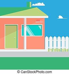 Family House Landscape. Vector illustration