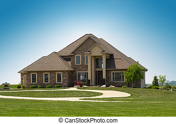 family house - modern suburban stone detached house