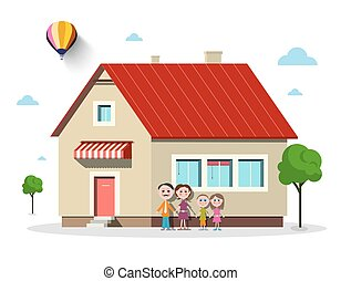 Family House. Vector Flat Design Building with Trees Isolated on white Background.