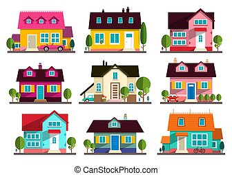 Family House. Vector Flat Design Buildings Icons Set Isolated on White Background.