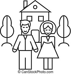 family house vector line icon, sign, illustration on background, editable strokes