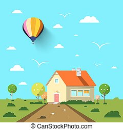 Family House with Road and Hot Air Balloon on Blue Sky. Flat Design Vector Landscape.