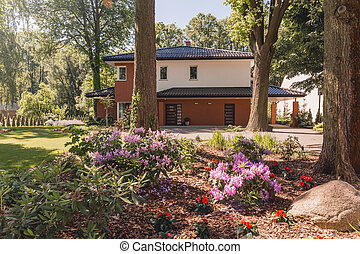 Family house with sunny landscape