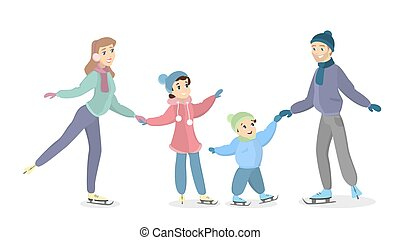 Family ice skating. Happy parents with children have fun on...