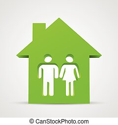 Family icon and house. Vector illustration