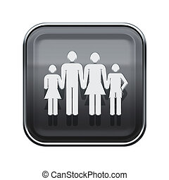 family icon glossy grey, isolated on white background.