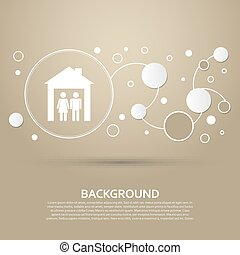 Family Icon on a brown background with elegant style and modern design infographic. Vector