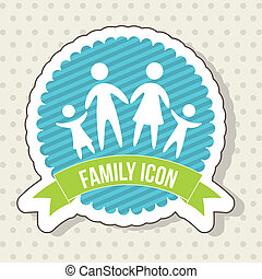 family icon over beige background. vector illustration