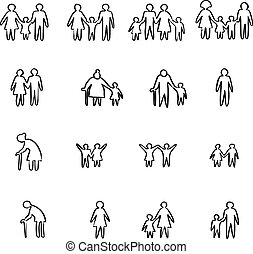 family icon set vector illustration sketch doodle hand drawn with black lines isolated on white background