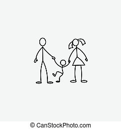 Family icon stick figure vector