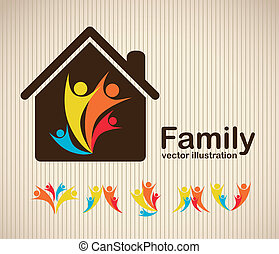 family icons - Illustration of family icons, isolated on...