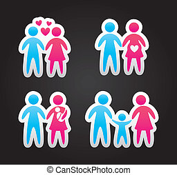family icons over black background. vector illustration