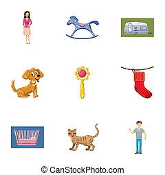 Family icons set, cartoon style
