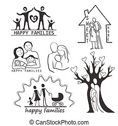 Family Icons Set Editable For Your Design