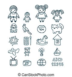 Family icons set in doodle style. Hand drawn design elements. Drawing sketch
