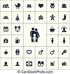 family icons universal set for web and UI
