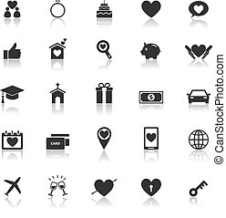 Family icons with reflect on white background