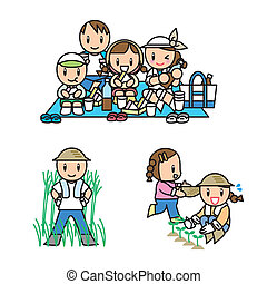 Family Illust Set - This is an illustration of a family ...