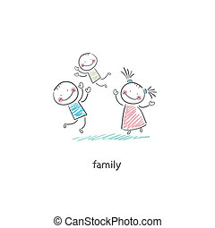 family., illustration., heureux