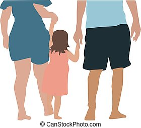 Family, illustration, vector on white background.
