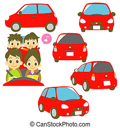 Family in a car, driving - Family in a car, driving, red car...