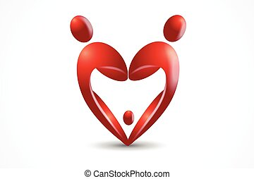 Family in a heart shape logo vector image