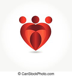 Family in a heart shape vector logo image