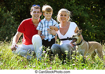 Family in a meadow