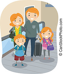 Family in a Moving Walkway - Illustration of a Stickman...