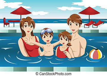 Family in a swimming pool - A vector illustration of happy...