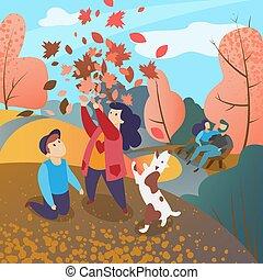 Family in autumn park vector illustration