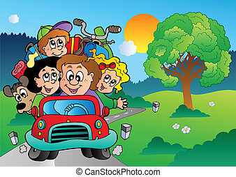 Family in car going on vacation