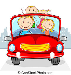 illustration of family travelling in car on cityscape backdrop