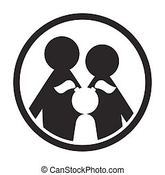Family in circle black and white simple icon