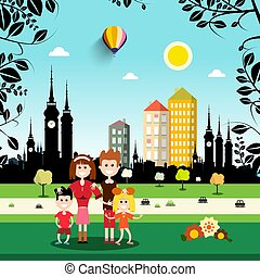 Family in City Park. Abstract Vector Town on Background.