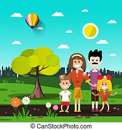 Family in City Park